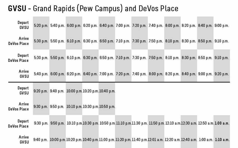 GVSU (Grand Rapids) to DeVos Bus Schedule